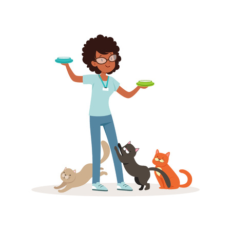 Cute curly-haired girl feeding homeless cats. Volunteer holding bowls with milk, social help. Teen in glasses, blue t-shirt and jeans flat vector design.