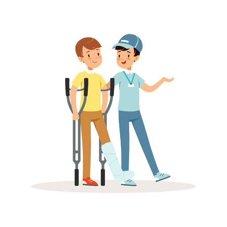 Cheerful volunteer helping boy with crutches. Leg in plaster. Social help. Activist in blue cap, t-shirt and jeans. Cartoon teenagers character. Colorful flat vector illustration isolated on white. Illustration
