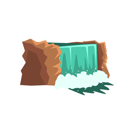 Gorgeous waterfall with clean blue water. Water source. Crystalline stream. Nature environment concept. Design for kids book or mobile app. Cartoon vector illustration in flat style isolated on white