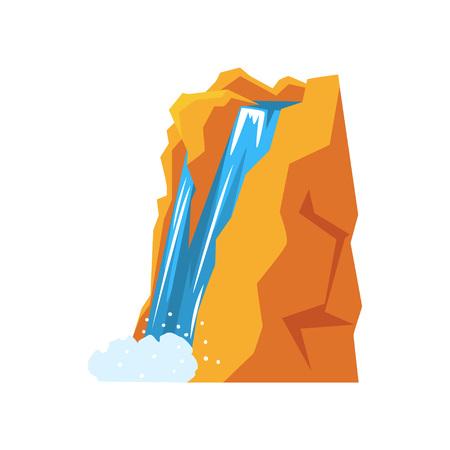 Cartoon natuurlijke lente waterval gieten van hoge berg klif. Bron van schoon en zoet water. Natuur milieu concept. Kleurrijke platte vectorillustratie geïsoleerd op een witte achtergrond. Stock Illustratie