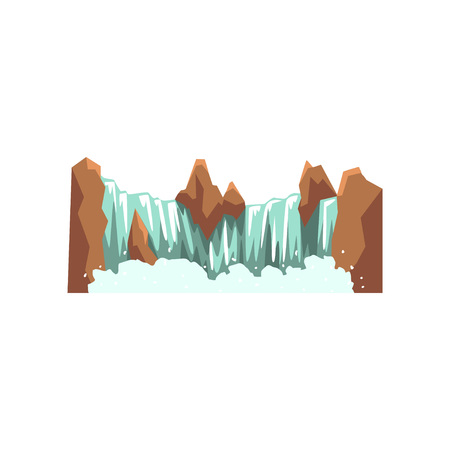 Cartoon landscape with brown rocky mountain and source of clean water. Nature environment concept. Design for travel map or mobile game. Colorful vector illustration in flat style isolated on white. Vectores