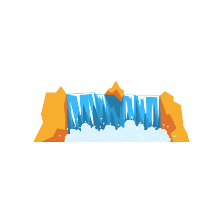 Water falling down from rocky cliff. Cartoon illustration of powerful waterfall. Source of fresh and clean water. Nature concept. Landscape design element. Colorful flat vector isolated on white. Vectores
