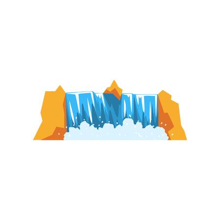 Wasser, das von der felsigen Klippe herunterfällt. Karikaturillustration des starken Wasserfalls. Quelle für frisches und sauberes Wasser. Natur-Konzept. Landschaftsgestaltungselement. Bunter flacher Vektor lokalisiert auf Weiß. Standard-Bild - 94596132