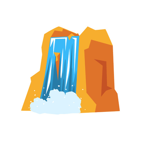 Colorful illustration of rocky mountain and beautiful waterfall with pure blue water. Element of landscape design. Nature concept. Cartoon vector in flat style isolated on white background.