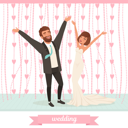 Gelukkig echtpaar dat pret op dansvloer heeft met omhoog handen.
