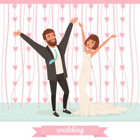 Happy married couple having fun on dance floor with hands up.
