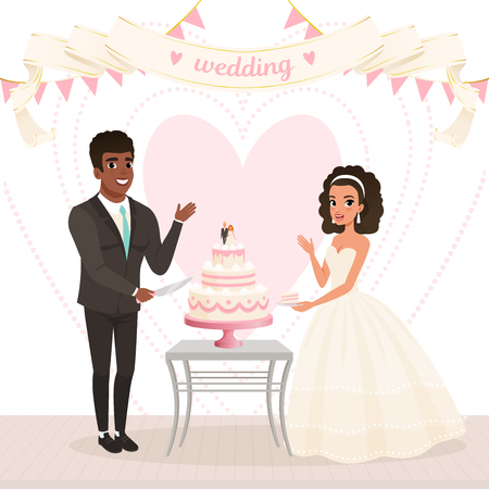 Cartoon caucasian bride and afro-american groom cutting wedding cake. Happy day. Young couple in love. Woman in lush white dress, man in classic black suit. Big heart on background. Flat vector design Illustration
