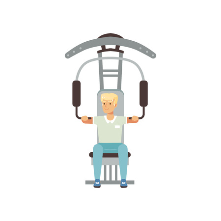 Fysieke training van een astronaut. Jonge mens die voor ruimtevlucht met gymnastiekapparatuur voorbereidingen treft. Training concept, mannelijke stripfiguur in korte broek en t-shirt platte vector design.