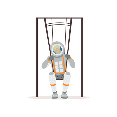 Smiling man in spacesuit training on special swings. Young astronaut preparing for space flight testing of physical activity. Colorful flat vector design. Çizim