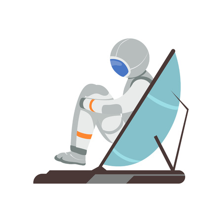 Man training vestibular apparatus on simulator machine. Astronaut preparing for space flight. Cartoon cosmonaut character in spacesuit colorful flat vector illustration isolated on white background. Illustration