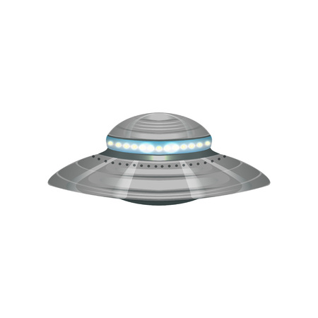 Cartoon alien flying saucer. Extraterrestrial space ship. UFO theme. Detailed silver or metallic martian vessel with blue lights. Colorful vector design in flat style isolated on white background.