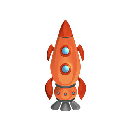 Cartoon space ship launch with porthole windows. Red manned rocket. Flying spacecraft. Cosmos, galaxy theme. Flat vector design for startup innovation Stock Illustratie