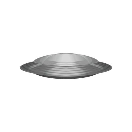 외계인 우주선이 원반 모양입니다. 실버 미확인 된 비행 개체입니다. 미래의 외계인 선박입니다. 갤럭시, 코스모스 테마입니다. 흰색 배경에 고립 된