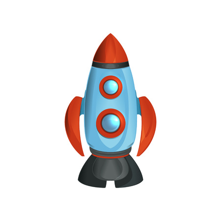 Cartoon space ship with round windows. Detailed rocket in blue, red and gray colors. Modern flying technology for traveling through universe. Colorful vector design in flat style isolated on white. Stock Illustratie