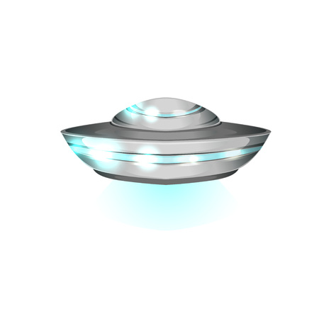 Saucer shaped flying craft, futuristic extraterrestrial space ship. Detailed metallic or silver UFO with blue lights. Alien theme colorful flat vector design. Ilustração
