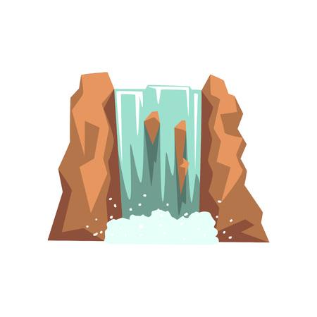 Cartoon Fluss Wasserfall . Frisches natürliches Wasser Wasser . Grafik-Design-Element für Reisen . Kinder Kinder oder Baby . Abstrakter bunter Entwurf in der flachen Art lokalisiert auf weißem Hintergrund Standard-Bild - 94597528