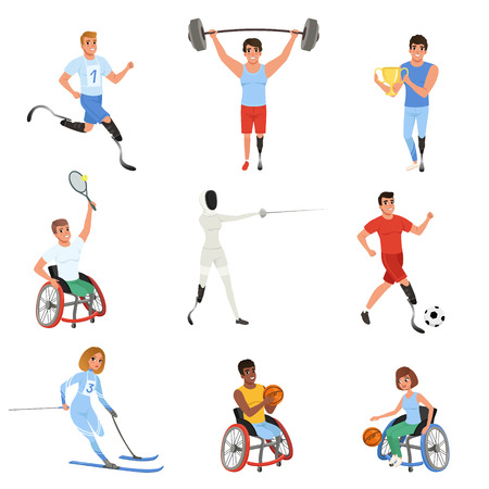 Set of athletes with physical disabilities. Smiling men and women taking part in various sports games. Active lifestyle. Colorful flat vector design