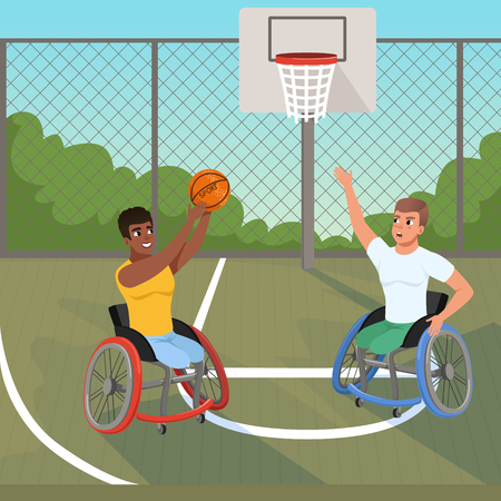 Paralympics sportsmen on wheelchairs playing with ball. Sports basketball court. Young athletes with physical disabilities. Active lifestyle. Bushes, sky and fence on background. Flat vector design.