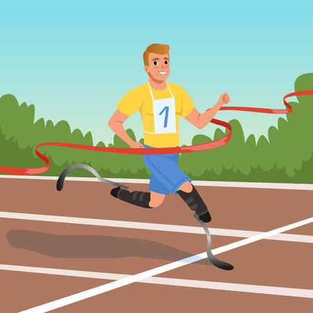 Young sprinter with prosthetic legs taking part in running competitions. Athlete with disabilities. Concept of paralympic games. Cartoon sportsman character crossing finish tape. Flat vector design.