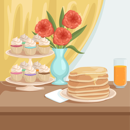 Tasty breakfast on wooden table. Plate with stack of pancakes, glass of fresh orange juice, stand with cupcakes, vase with beautiful red flower. Yellow curtain on background flat vector illustration.