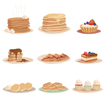 Colorful set with various sweet desserts. Plates with stack of pancakes, cupcakes, cake, fritters and tartelette. Tasty breakfast. Design for pastry shop, recipe book or menu. Flat vector illustration Stock Illustratie