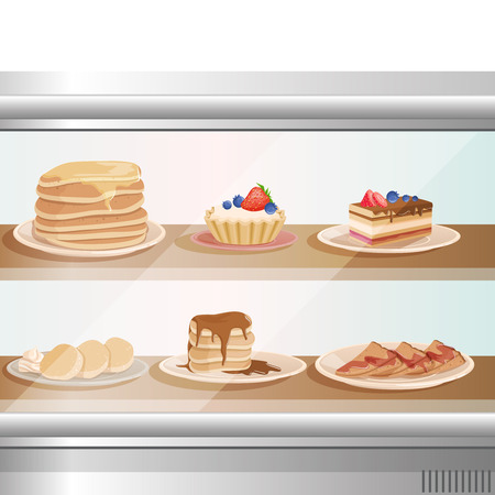Glass showcase of cafe or bakery shop with various sweet desserts. Plates with stack of pancakes, fritters, cupcakes, cake and tartelette. Ilustração