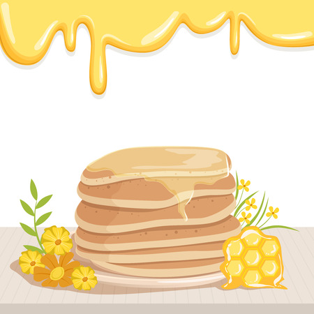 Stack of tasty pancakes watered with honey, cute yellow flowers and honeycomb on table. Illustration