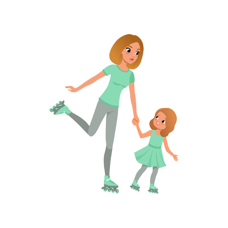 Young mother and her little daughter skating on rollers. Family sport. Active lifestyle. Illustration