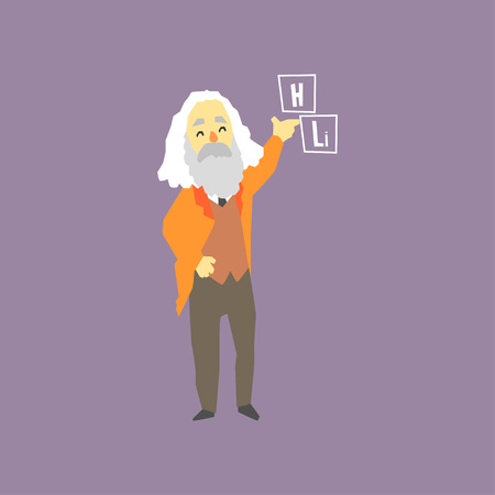 Famous Russian chemist - Dmitri Mendeleev. Inventor of the periodic table of elements. Smiling gray-haired man character with beard. Cartoon flat vector illustration isolated on purple background. Stock Vector - 94779197