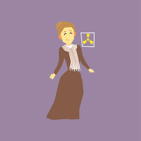 Illustration of famous woman scientist - Marie Curie. Discoverer of two radioactive elements radium and polonium. Cartoon female character in long old-fashioned dress. Isolated flat vector design.