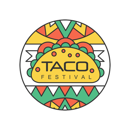 Round emblem with Mexican traditional street food. Taco festival concept. Abstract design for logo, badge, label or flyer. Line art with colorful fill. Vector illustration isolated on white background