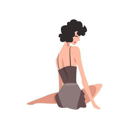 Back view of sitting fashion model in black vintage lingerie. Sexy woman in retro pin-up underwear. Cartoon sensual girl with black curly hair. Flat vector design