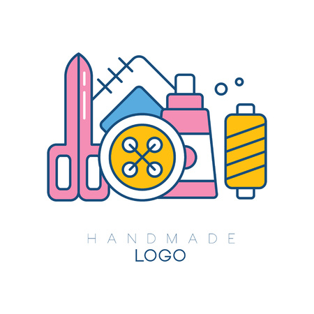 Original logo template with accessories for sewing. Big spool, bobbin with threads, patch, scissors and button. Isolated vector design for handmade club. Linear emblem with pink, yellow, and blue fill Иллюстрация