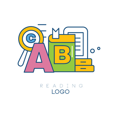 Creative hobby logo template. Reading concept. Letter A, book, magnifying glass, tablet. Educational learning sign. Linear emblem with colorful fill. Vector illustration isolated on white background.