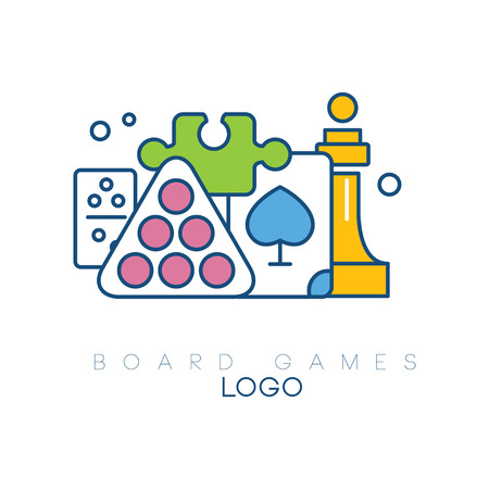 Abstract logo design with board games. Modern linear emblem with colorful fill. Billiard balls, chess piece, puzzle, domino and playing card. Creative vector design Ilustração