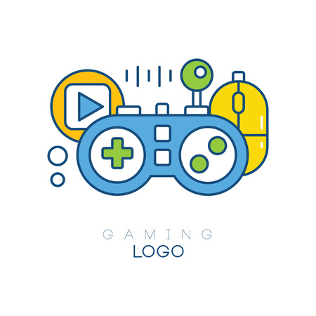 Gaming logo template. Gamepad, play button, joystick and computer mouse. Linear emblem with blue, yellow and green fill. Creative design for game club. Vector illustration isolated on white background
