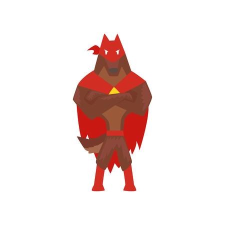 折りたたまれた手で立つスーパーヒーロー犬キャラクター、赤いケープとマスク漫画のベクトルに身を包んだスーパードッグイラストは白い背景に