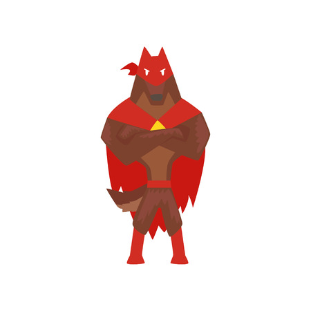 Superhero dog character standing with folded hands, super dog dressed in red cape and mask cartoon vector Illustration isolated on a white background