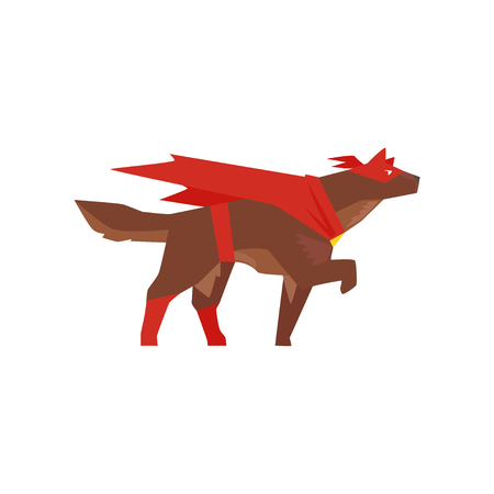 Superhero dog character, super dog dressed in red cape and mask cartoon vector Illustration isolated on a white background