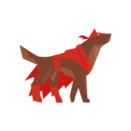 Superhero dog character in red cape and mask cartoon vector Illustration isolated on a white background