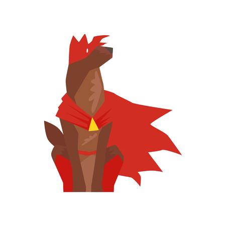 スーパーヒーロー犬キャラクター座って、赤いケープとマスク漫画ベクトルに身を包んだスーパードッグイラストは白い背景に隔離  イラスト・ベクター素材