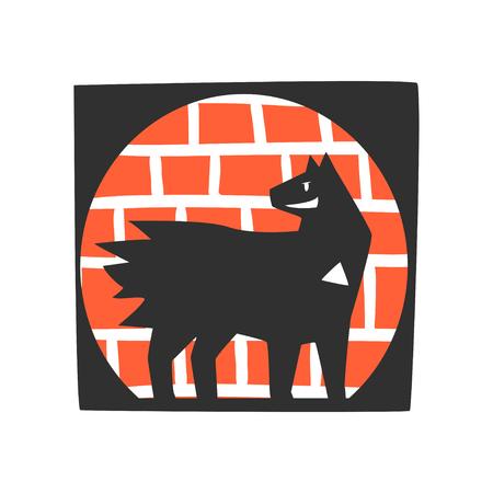 レンガの壁の背景漫画ベクトルに立つスーパーヒーロー犬キャラクターのシルエット ●白い背景に隔離されたイラスト  イラスト・ベクター素材