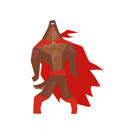 Superhero dog character standing with its head thrown back, super dog dressed in red cape and mask cartoon vector Illustration isolated on a white background Illustration