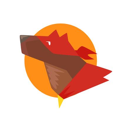 太陽に対するスーパーヒーロー犬の頭、赤いケープとマスク漫画ベクトルに身を包んだスーパードッグイラストは白い背景に隔離