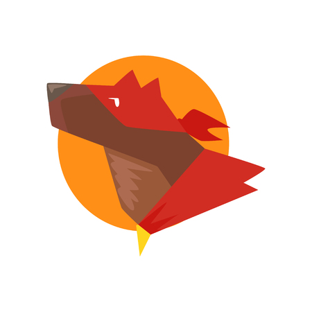 Head of superhero dog against the sun, super dog dressed in red cape and mask cartoon vector Illustration isolated on a white background Illustration