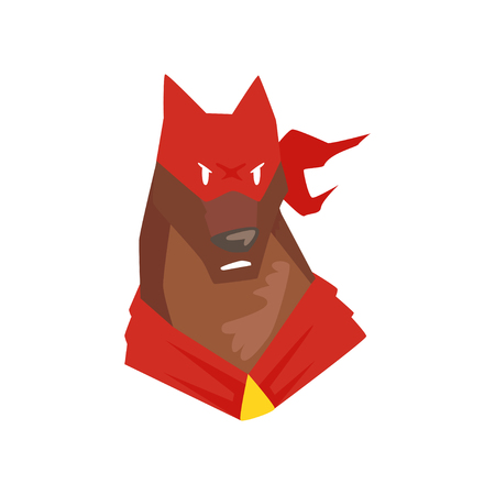 Superhero dog character in red mask cartoon vector Illustration isolated on a white background