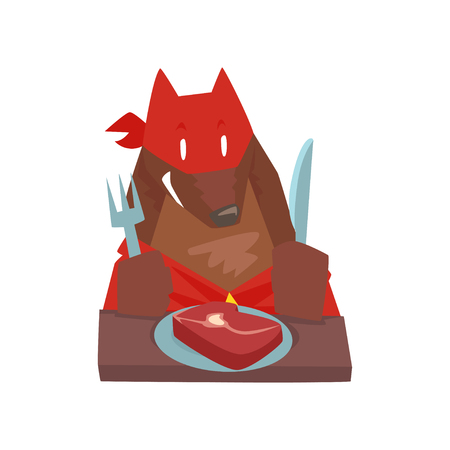 Superhero dog character eating food with fork and knife, super dog dressed in red cape and mask cartoon vector Illustration isolated on a white background Ilustrace