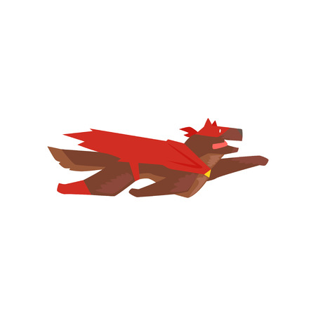 Superhero dog character flying, super dog dressed in red cape and mask cartoon vector Illustration