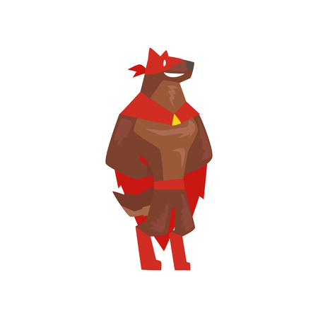 Superhero dog character standing, super dog dressed in red cape and mask cartoon vector Illustration