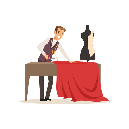 Male dressmaker making out clothes on the table, clothing designer or tailor working at atelier vector Illustration on a white background Illustration